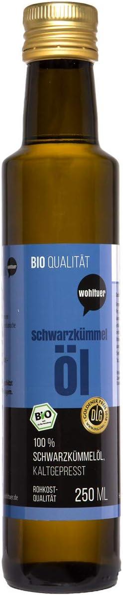 Wohltuer Aceite ecológico de comino negro, 250ml, prensado en frío en calidad para tomar crudo, producto egipcio con certificado ecológico