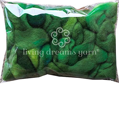 Wool Roving Hand Dyed. Super Soft BFL Combed Top Pre-Drafted for Easy Hand Spinning. Artisanal Craft Fiber ideal for Felting, Weaving, Wall Hangings and Embellishments. 1 Ounce. Hunter Green