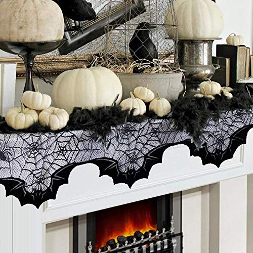 FUNISFUN Halloween Lace Fireplace Mantle Scarf Cover, Black Cloth Spider Web Bats Runner Door Window Curtain Kitchen Decorations Gothic Festival Party Decor, 20 x 80 -