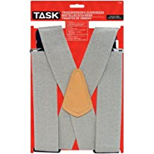 Task Tools T77416 Tradesperson's Suspenders, Full Elastic, Grey