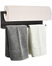 YJSMO Magnetic Paper Towel Holder for Refrigerator, Towel Rack Magnetic Shelf Multi Function Made of Iron,Used for Kitchen,Bathroom,Toilet, Drill Free (Black, Medium)