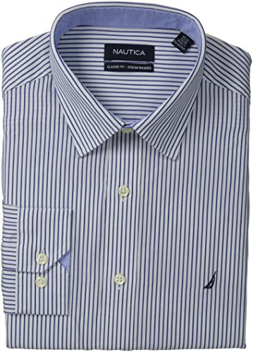[Nautica Men's Stripe Point Collar Dress Shirt, Navy, 16.5
