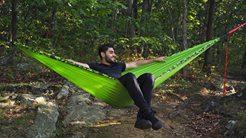 Camping Hammock Double – Durable Ultralight Bundle For Two – Includes a Heavy Duty Nylon Parachute Hammock + 30% Off Hammock Tree Straps + Portable Pouch For Travel – Lie Back & Enjoy the Breeze!
