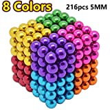 Sea Plan 216 Pcs 5MM Magnetic Ball Set for Office Stress Relief,Desk Sculpture Toy Perfect for Crafts,Colorful Buildable Sculpture Toys