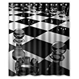 "60""(W) x 72""(H) Chessboard Art Popular Bathroom Shower Curtain 100% Polyester"