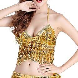 Belly Dance Costume Sequin Tassel Top In Gold