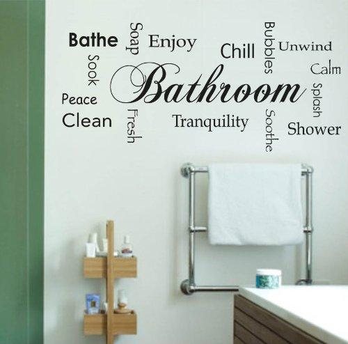 10 opinioni per Adesiviamo Bathroom L Adesivo Murale, PVC, Nero, 119 x 55 cm