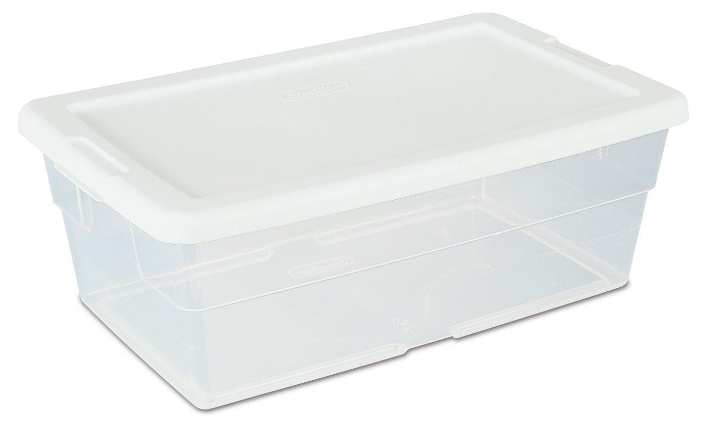 12 pack storage box plastic container bin organizer tote lids clear 6 quart ebay. Black Bedroom Furniture Sets. Home Design Ideas