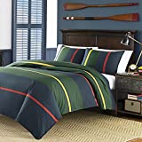 2 Piece Colorful Navy Blue Rugby Stripes Comforter Twin Set, Green Red Stripes Bedding Nautical Themed Coastal Classic Yellow Line Pattern Horizontal Dorm College Sports Colors, Percale Cotton