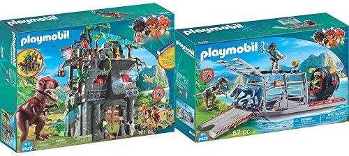 Playmobil 9429 - Basecamp mit T-Rex Spiel & 9433 - Propellerboot mit Dinokäfig Spiel