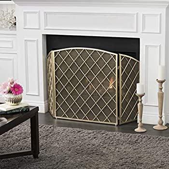 Image of Christopher Knight Home Angella 3 Panelled Gold Iron Fireplace Screen