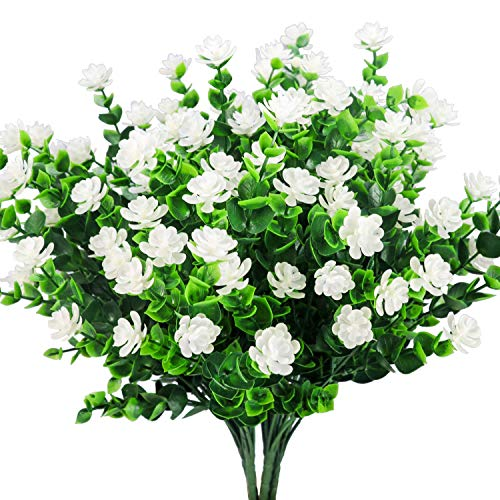 E-HAND UV Resistant White Artificial Flowers Outdoor Plants Plastic Leaves Fake Bushes Greenery for Window Box Home Patio Yard Indoor Garden Decor