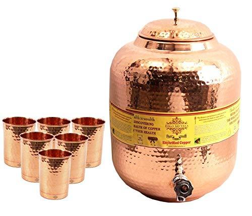Indian Art Villa Hammered Copper Water Dispenser Pot Matka with 6 Glass Tumbler, Serveware, 7 Pcs