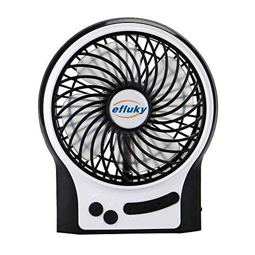 Cheapest Prices! Efluky Mini USB 3 Speeds Rechargeable Portable Table Fan, 4.5-Inch, Black