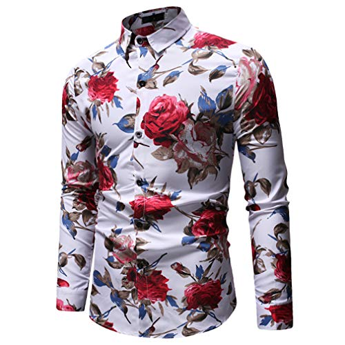 (YIMANIE Mens Regular Fit Long Sleeve Shiny Silk Like Satin Dance Prom Luxury Dress Shirt Camouflage Tops (White&Rose, L))