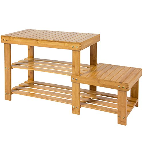 Shoe Bench 2-Tier Boot Storage Racks Shelf Organizer Natural Bamboo