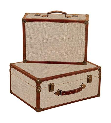 Burlap Decorative Suitcases