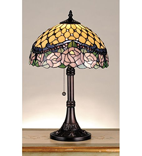 Tiffany Style Stained Glass Light Jeweled Rose Table - Stained Rose Glass Jeweled