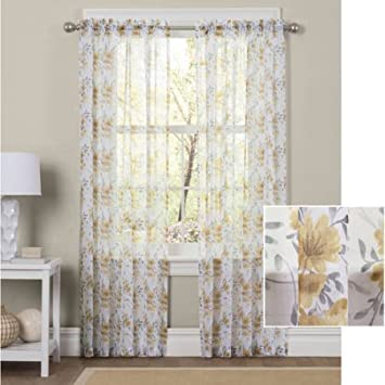 Amazon.com: Better Homes and Gardens Watercolor Mums Sheer Curtain ...