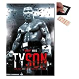 Bundle - 2 Items - Iron Mike Tyson Boxing Record Poster - 91.5 x 61cms (36 x 24 Inches) and a Set of 4 Repositionable Adhesive Pads For Easy Wall Fixing