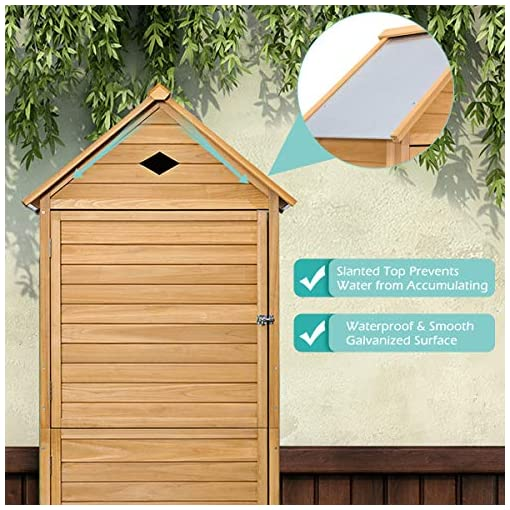 Garden and Outdoor Safstar Outdoor Storage Shed for Garden Tools, Wooden Patio Shed with Gable Roof and Metal Latches outdoor storage sheds