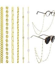 iF You - Paquete de 9 soportes de cadena para gafas de oro para mujeres y niñas, máscara de cara negra, cordón de lectura, collar alrededor del cuello