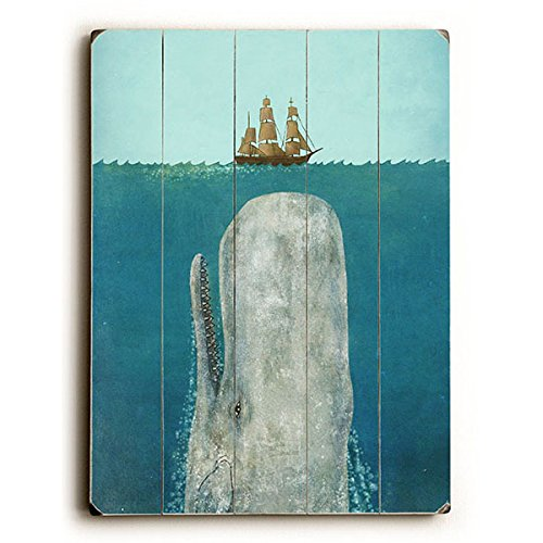 The Whale by Artist Terry Fan 9''x12'' Solid Wood Sign Wall Decor Art