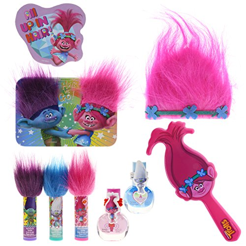 Townley Girl DreamWorks Trolls Hair, Nails and Lips Essentials Set for Girls; Trolls Hair Tiara, Hair Ties, Hair Brush, Nail Polish, Trolls Hair Lip Balm and Carrying Case