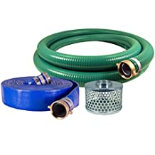 "JGB Enterprises Eagle Hose PVC/Aluminum Water/Trash Pump Hose Kit, 2"" Green Suction Hose Coupled M x F WS, 2"" Blue Discharge Hose Coupled M x F WS, 29 Vacuum Rating, 80 PSI Maximum Temperature, 25' Length, 2 ID"