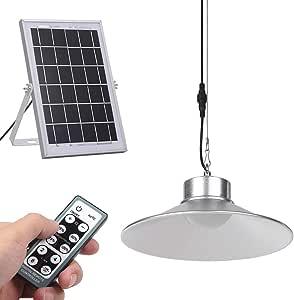 Lixada LED Luz de Techo con Energía Solar con Control Remoto y Función de Temporizador Lámpara Colgante Regulable con Cable de 5 m / 16.4 Pies para Iluminación de Sala de Estar Interior