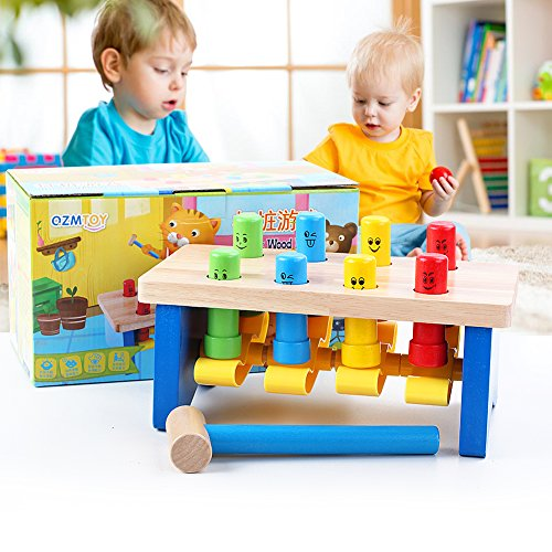 QZM Deluxe Pounding Bench Wooden Toy With Mallet Early Educational Games for Toddlers Kids and Ages 2 years and up by QZM woden toys (Image #1)
