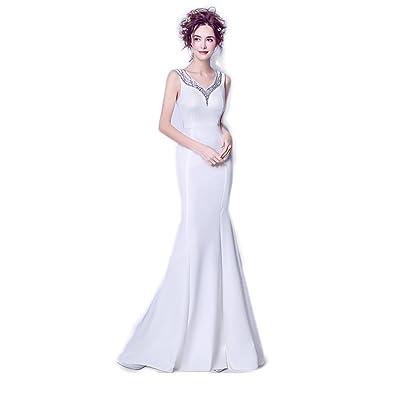 0fbcb9b22f4fb ロングドレス演奏会 イブニングドレス結婚式 パーティードレス 二次会 披露宴 成人式 ワンピース フォーマルドレス Vネック マーメイド ホワイト