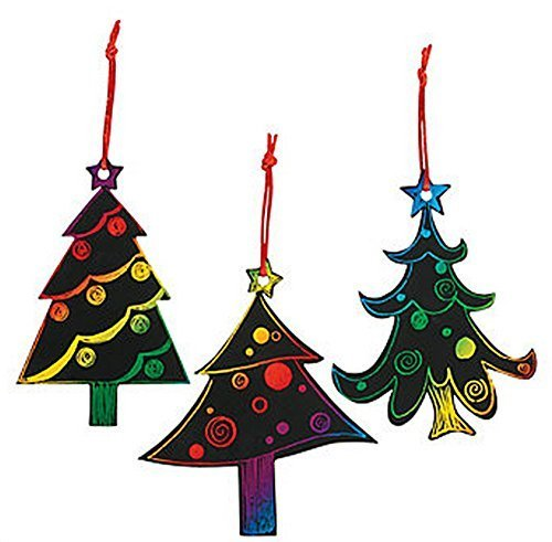 Magic Color Scratch Christmas Tree Ornaments (24 Count) - Crafts for Kids & Ornament Crafts -