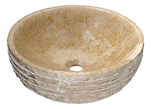 Man Made Stone Vessel Sink - Classic Cream - Desert Chalice Series LS-AZ314 - ANZZI