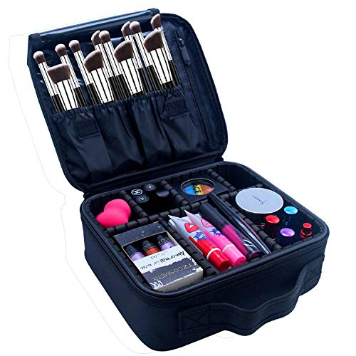 Portable Makeup Case Chomeiu 9 Inch Makeup Organizer EVA Makeup Artist Storage for Cosmetics, Makeup Brush, Jewelry, Toiletry, Travel Accessories with Removable Adjustable Divider (Black)
