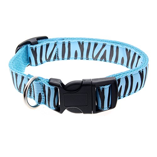 Itery Pet Dog Wear Adjustable Animal Pattern Collar 1 Inch Width (Zebra Blue)