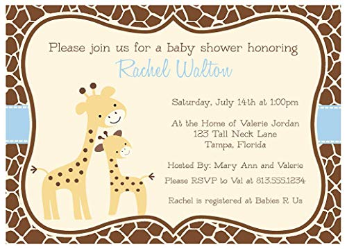Giraffe Baby Shower Invitations Giraffe Print Sprinkle Invites Safari Jungle Zoo Animals Boys It's A Boy Brown Orange Blue Gentle Giraffes Customize (10 - Invitations Printed Custom