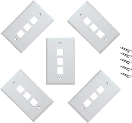 Pack of 3 Keystone Port Single Gang Data Wall Plates White 5