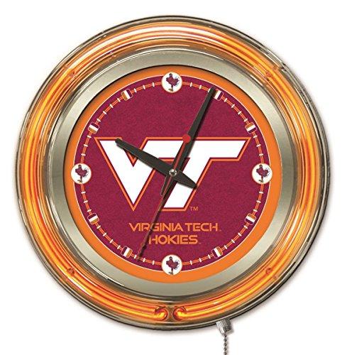 Virginia Tech Hokies HBS Neon Orange College Battery Powered Wall Clock - Neon Tech Clock