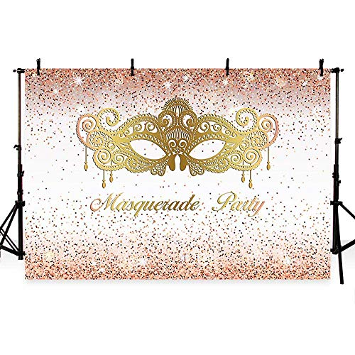 Custom Masquerade Mask - MEHOFOTO Masquerade Party Photo Studio Booth Background Mardi Gras Mask Prom Dance Woman Birthday Party Decoration Rose Gold Sequins Banner Backdrops for Photography 7x5ft