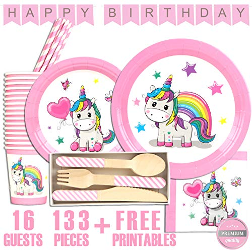 Unicorn Party Supplies Set - Tableware and Decorations serves 16 - Girls birthday party supply set - Unicorn theme baby shower kit - Eco-friendly plates, cups, napkins, straws, wooden cutlery, honeycomb balls and Happy Birthday banner