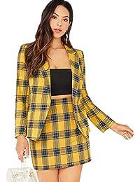 Women's Two Piece Plaid Long Sleeve Blazer and Zipper Skirt Set Suit