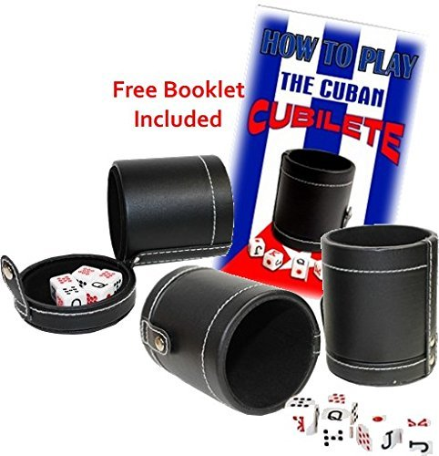 Faux Leather Cubilete Cup with dice set. with storage compartment by Sentir Cubano Cubano Set