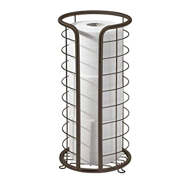 mDesign Decorative Metal Free Standing Toilet Paper Holder Stand with Storage for 3 Rolls of Toilet Tissue - for Bathroom/Powder Room - Holds Mega Rolls - Bronze