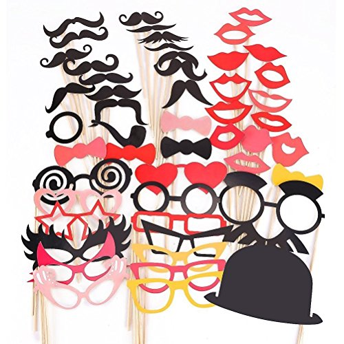 Tinksky 50pcs Photo Booth Props Colorful DIY Glasses Moustache Props On A Stick Party Fun Wedding Christmas Birthday Favor