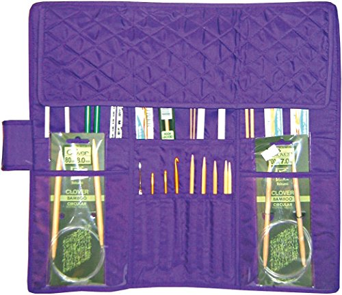Yazzii Quilted Cotton Knitting Needle Case, Purple by Yazzii