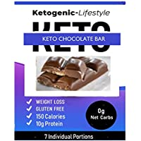 Ketogenic-Lifestyle - Keto Chocolate Bar - Keto Weight Loss - Ket Snack - Keto Cocolate Bar - Low Carb - 11g (17%) Fat - 10 g Protein – 150 Cal – 0 g NET CARBS - 7 Individual Portions - High Quality Ingredients - Promotes Weight Loss - Diet Chocolate - Satisfying and Delicious - Keto - Ketogenic - GLUTEN FREE