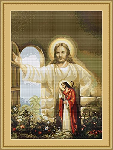 [Luca-S Counted Petit Point Cross Stitch Kit Christ at Hearts Door] (Petit Point Heart)