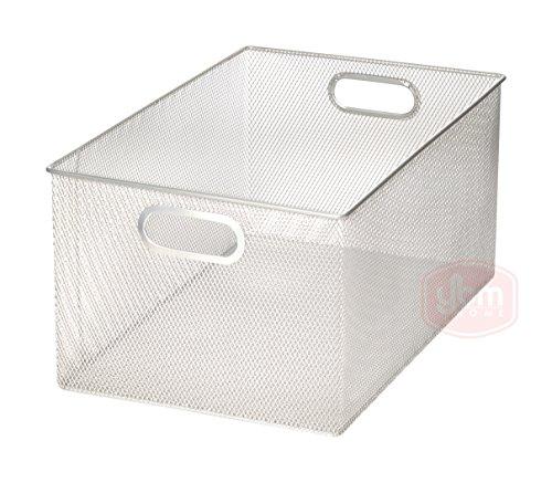 Silver Mesh Open Bin Storage Basket Organizer for Fruits, Vegetables, Pantry Items Toys, Etc 14.5
