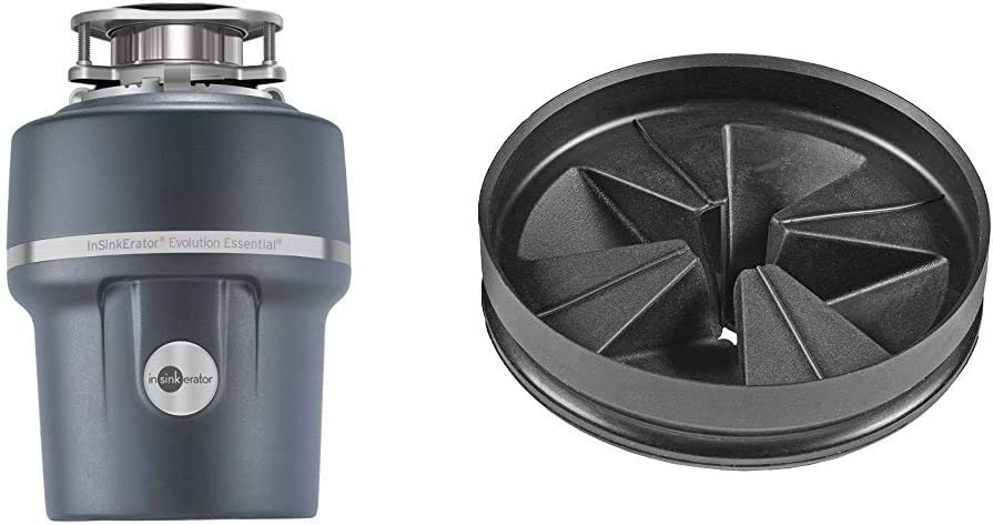 InSinkErator Garbage Disposal + Air Switch + Cord, Evolution Essential XTR, 3/4 HP Continuous Feed & QCB-AM Anti-Microbial Quite Collar Sink Baffle for Evolution Series, Black